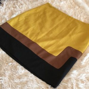 Ann Taylor LOFT Marigold Yellow Colorblock Skirt